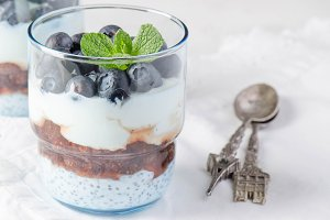yoghurt with chia and blueberries