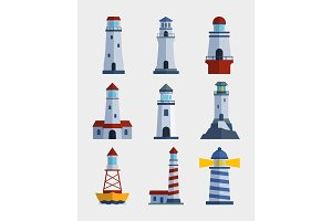 Cartoon flat lighthouse searchlight tower for maritime navigation guidance light vector illustration.