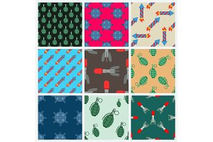 Bomb and rockets vector set seamless pattern background