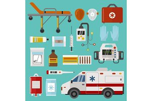 Medical icons set care ambulance emergency hospital vector illustration
