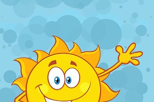 Cute Sun Over Blue Background