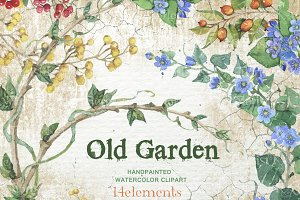 Old Garden Watercolor clip art F-09