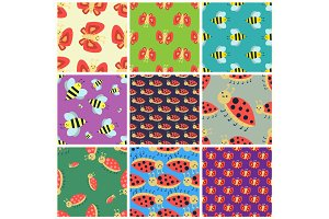 Colorful insects seamless pattern wildlife wing detail summer worm caterpillar bugs wild vector illustration.