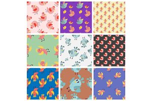 Cute birds seamless pattern vector illustration cartoon colorful set