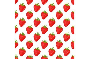 Cartoon fresh strawberry fruits in flat style seamless pattern food summer design vector illustration.