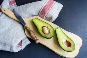 Organic food concept with avocado