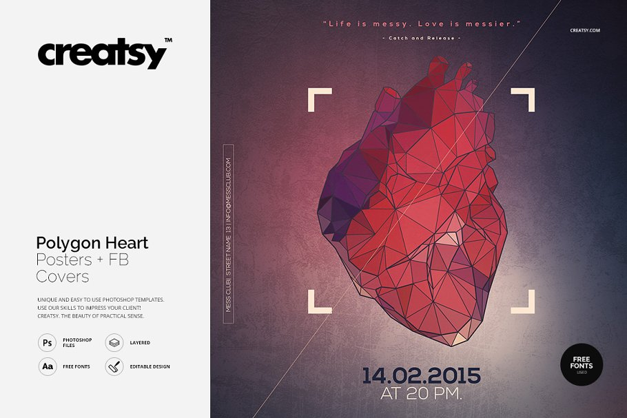 Polygon Heart Poster