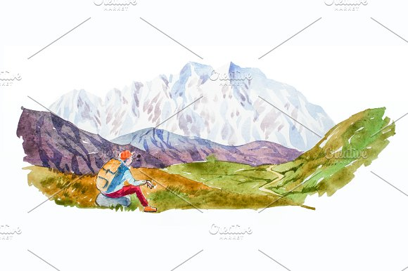 Traveler And Mountain Panorama With Lake Watercolor Illustration