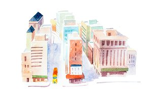 Top view of street in a big city hand drawn with watercolors