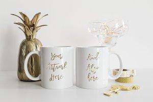 Gold pineapple 2 white mugs mockup