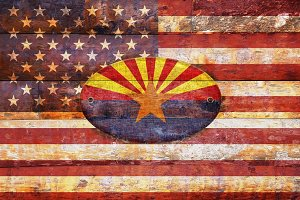 USA and Arizona flags .