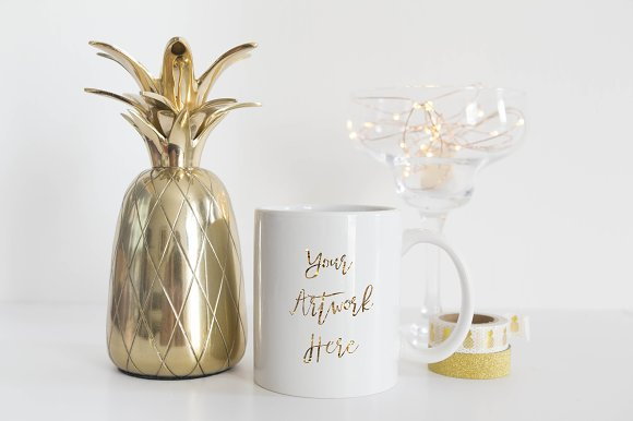 Gold Pineapple White Mug Mockup