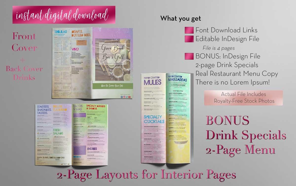 restaurant menu indesign template brochure templates creative market. Black Bedroom Furniture Sets. Home Design Ideas