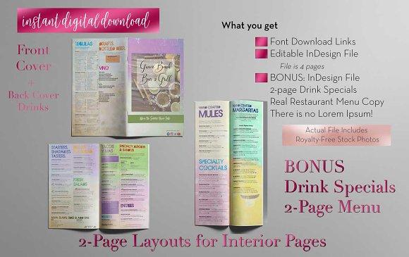 restaurant menu indesign template brochure templates creative
