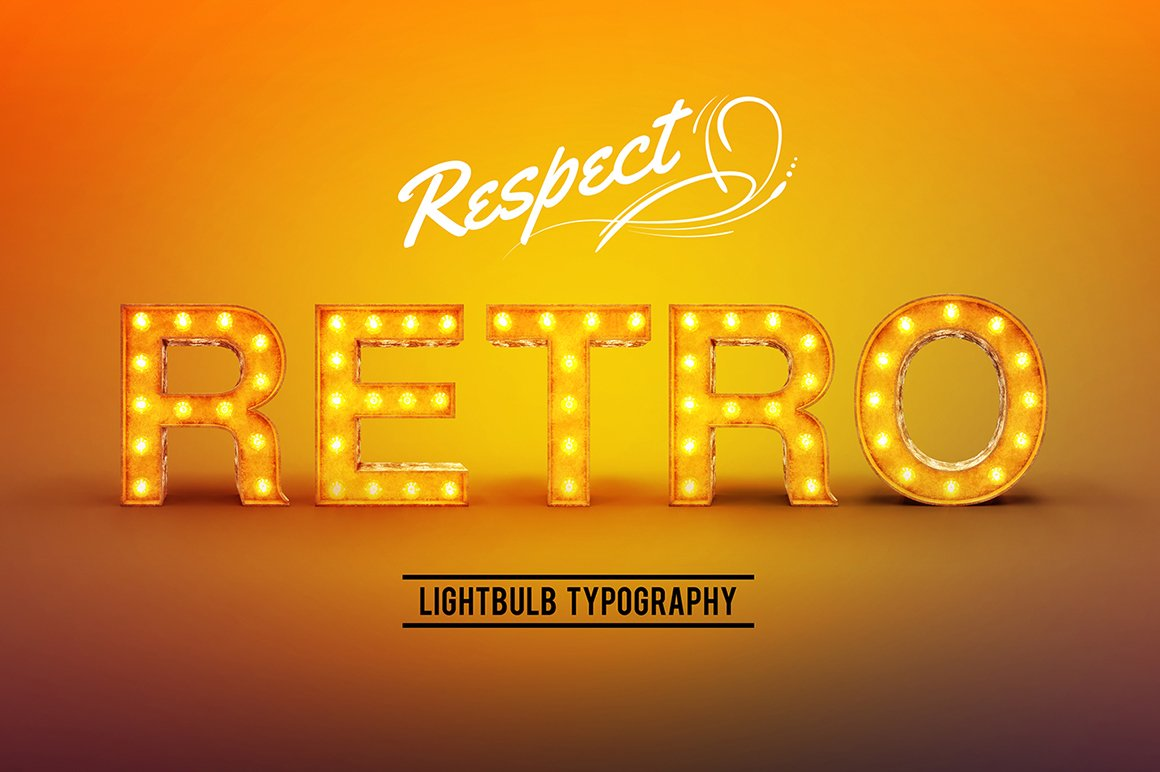 Retro Lightbulb Font Graphic Objects Creative Market