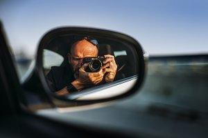 Man making a self portrait