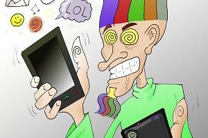 Technology crazy man (Hand drawJPEG)