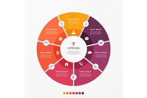 Circle chart infographic template with 7 options