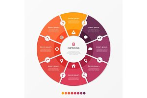 Circle chart infographic template with 8 options