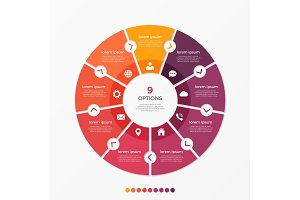 Circle chart infographic template with 9 options