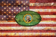 USA and Washington flags.