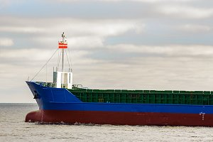 Blue cargo ship's bow