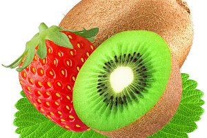 strawberry and kiwi with leaf