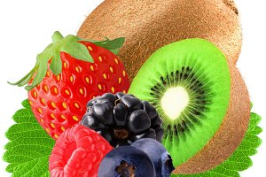 Berries and kiwi isolated on white