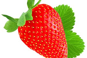 Strawberry with leaf isolated