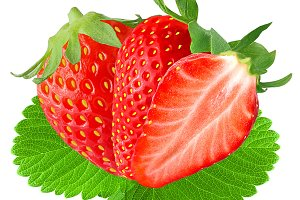 Two and half strawberry with leaf