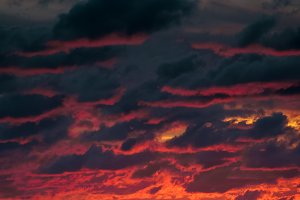 Red cloudy sunset sky