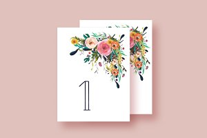 Hand-Painted Floral Table Numbers