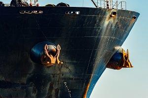 Black cargo ship's bow