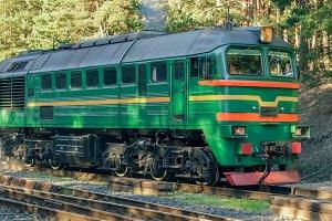Green diesel cargo locomotive