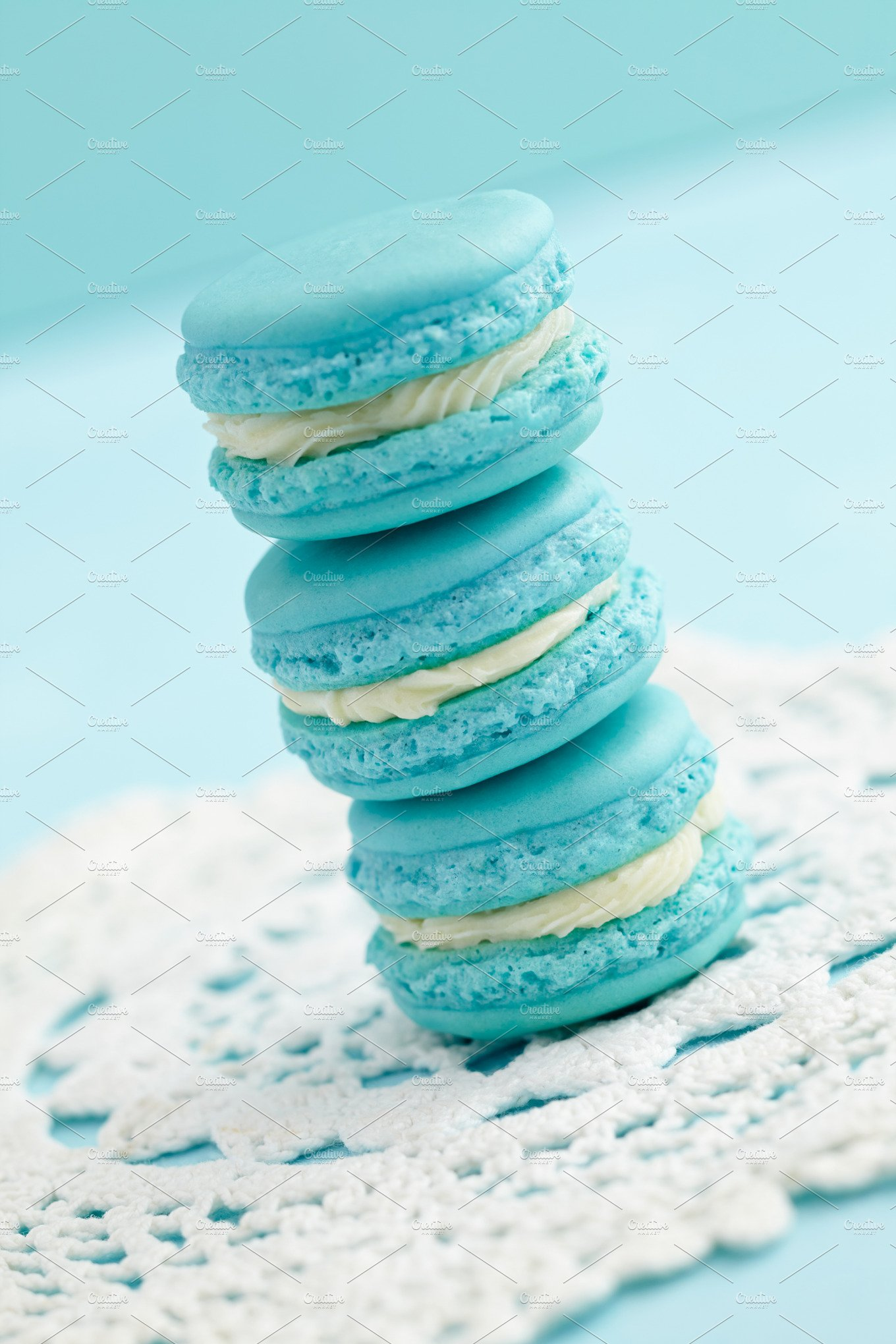 Light blue macarons food drink photos creative market for Cuisine turquoise