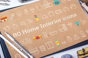 Set of 80 Vector Home Interior icons