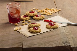 Peanut butter cookies with jelly