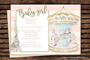 DIY Carousel Printable  Invitation