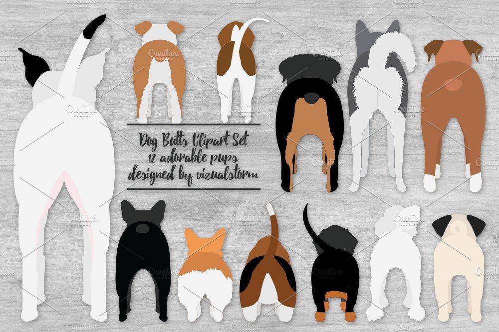 Funny Dog Butt Illustrations ~ Illustrations ~ Creative Market