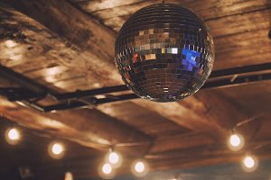 Night club - disco ball at ceiling