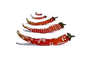Funny Red Chilli Pepper Pods