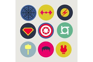 Icons, abstract, tweaked for superheroes and supervillains, flat style vector art