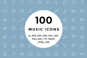 100 Music and Multimedia Icons