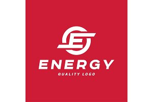 Techno energy sign with the letter E vector style flat art
