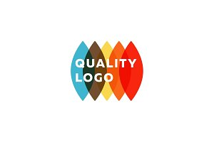 Colored flat semicircle style, quality mark logo