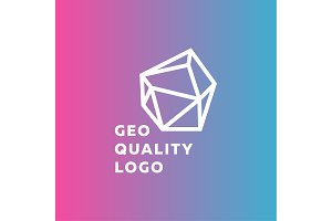 Outline gradient sign stone style trend in a line of high-quality geological logo