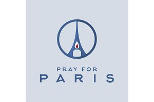 Pray for the Paris, France Friday, 13th November 2015, world of terror without Eiffel Tower, Memory Candle sign