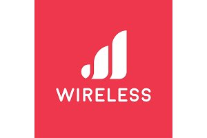 wireless network logo for business, flat style illustration