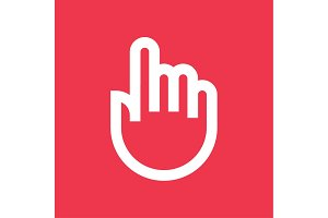 Touch Finger pointer icon outline line flat style trend