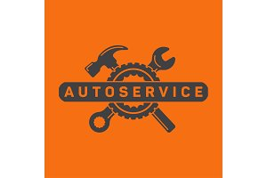 Service auto repair, wrench hammer, wheel logo sign flat.